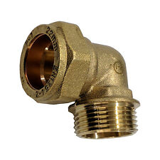 """Brass Compression Elbow 90° 22mm x 3/4"""" BSP Male Iron to Copper Tube"""