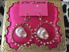 Betsey Johnson Vintage Nautical Gold White Shell Pearl Hoop Earrings VERY RARE