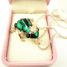 Rose Gold Plated Crystal Crown Green Frog Pendant Necklace Sweater Chain