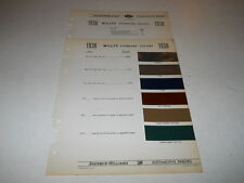 1938 WILLYS PAINT CHIP CHART COLORS SHERWIN WILLIAMS PLUS MORE