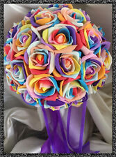 RAINBOW ROSES WEDDING FLOWERS  Brides posy bouquet