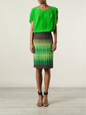NWT $349 M MISSONI Green Multicolor Zig Zag Crochet Knit Skirt Sz.46/ US 10