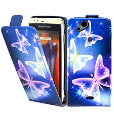 Blue Butterfly Pu Leather Flip Case Cover For The Sony Ericsson Xperia Arc S