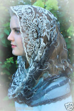 Evintage Veils: Black Embroidered  Lace Infinity Chapel Veil Mantilla Snood