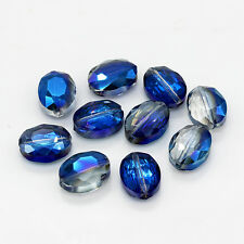 10pcs 9x12 Faceted Oblong Finding Cut Glass Crystal Loose Spacer Oval Beads B152