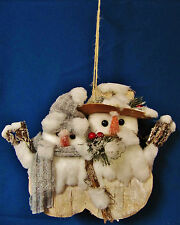 MR & MRS BIRCH SNOWMAN COUPLE HANGING DECOR CHRISTMAS DOOR HANGER WEDDING