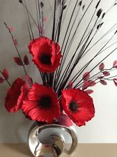 Artificial Silk Flower Arrangement In Red Poppies In Silver Modern  Vase