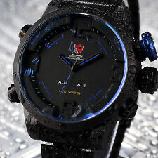 3D SHARK Mens Fashion Black Blue LED Digital Stainless Steel Sport Wrist Watch