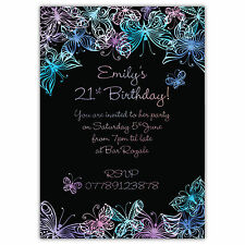 Personalised Adults Birthday Party Invitations 18th 21st 30th Pastel Butterflies