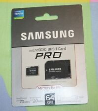 BRAND NEW Samsung 64GB PRO Micro SDXC w/ Adapter 70 MB/s - UHS-1 Class10 Memory