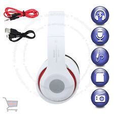 Foldable Wireless Bluetooth Headset Stereo White Headphone Built-In Radio UKES