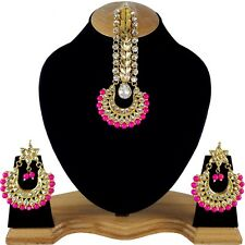 Royal Gold Plated Original Meena Kundan Handmade Meenakari Big Earrings & Tikka