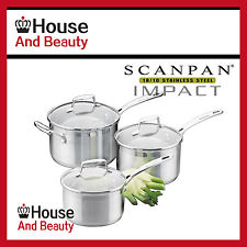 NEW Scanpan Impact 3pc Saucepan Set 16/18/20cm (RRP $315)