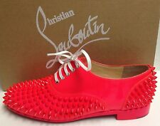 Christian Louboutin Freddy Flat Spikes Patent Fluo Oxfords Shoes 37