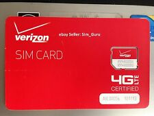 VERIZON WIRELESS MICRO 4G LTE SIM CARD 3FF FOR GALAXY S3, S4, S5, G3, G4, New