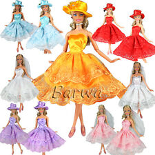 3 Sets Random Fashion Mini Dresses Clothes + Hat Veil and Shoes for Barbie Doll