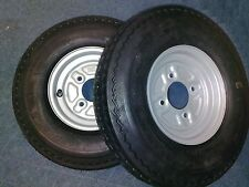 "2 x Trailer Wheels and Tyres 480/400 x 8"" 100mm pcd 4 Ply"
