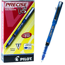 Pilot Precise V5 35335, Blue Ink, 0.5mm Extra Fine Rolling Ball Pen, Box of 12