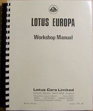 Lotus Europa Series 1 & 2 Shop/Service Manual - Brand New!