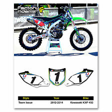 2012 KAWASAKI KXF 450 Team Issue Dirt Bike Graphics Custom Number Plates