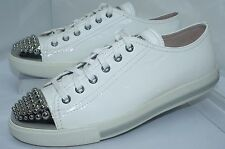 Miu Miu Womens White Shoes Fashion Sneakers Size 39 Calzature Donna Leather NIB