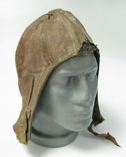 VINTAGE WWII ERA GERMAN AVIATOR PILOT LEATHER HELMET MILITARIA GERMANY  SEE!