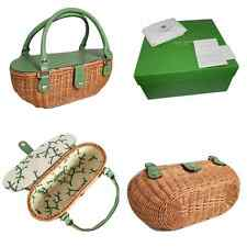 NEW KATE SPADE WICKER BAG WITH CARDS, DUST COVER & BOX!  ~ STRAW ~ RATTAN