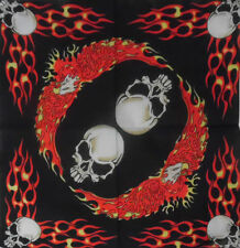 "FLAMES BLACK ORANGE WHITE SKULL HEADS COTTON BANDANA SCARF 20"" HAIR HEAD WRAP"