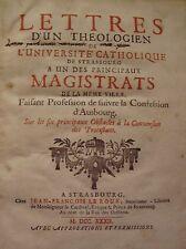 SCHEFFMACHER - LETTRES D'UN THEOLOGIEN DE STRASBOURG A UN MAGISTRAT - EO - 1732
