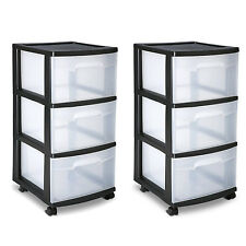 Sterilite 3 Drawer Cart Storage Plastic Box Organizer Cabinet Home X 2 Rolling