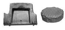 NEW! 1964-1966 Mustang Trunk Mat PLAID Pattern  Fastback Tire Cover Set