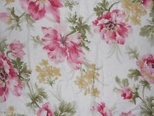 CHAPS CAMELLIA POPPY  RED/PINK/YELLOW FLORAL STRIPE 3PC QUEEN COMFORTER SET