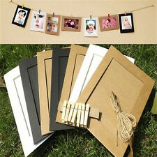 7X Paper Photo Flim DIY Wall Picture Hanging Frame Album+Rope Frames Set 7inch S
