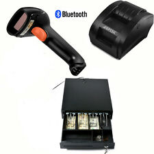 USB 58mm POS/ESC Printer+RJ12Cash Drawer 2Coin+1D Laser BluetoothBarcode Scanner