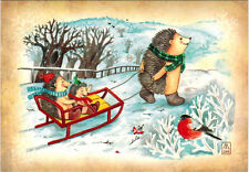 FATHER HEDGEHOG TAKES HIS CHILDREN FOR A SLEDGE RIDE Modern Russian card
