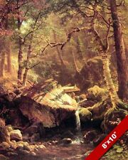 MOUTNAIN BROOK IN AUTUMN FALL PEACEFUL LANDSCAPE PAINTING ART REAL CANVAS PRINT
