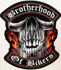 Large Brotherhood of Bikers Skull Bobber Chopper Biker sew on Motorcycle Patch