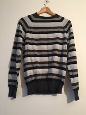 New Look Stripe Jumper Grey White Black Men's Size Small  N675