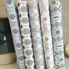 5pcs 25*25cm Cotton Fabric Polycotton Patchwork Grey Sewing Fat Quarter Bundle