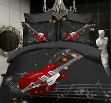 Xmas New 3D Printed Music Red Guitar Double Bedding Sets Quilt Duvet Cover Gifts