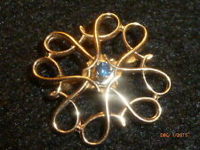 10K YELLOW GOLD VINTAGE BLUE SAPPHIRE PIN - 2.2G