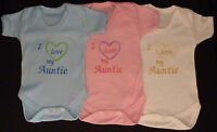 I Love My Auntie Baby Vest Grow Babies Clothes Funny Gift Boy Girl Pink Blue