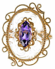 14K Yellow Gold Crystal Quartz with Amethyst Gemstone Ring Size 7