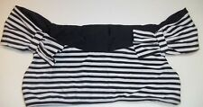 Lolli Swim Womens Large Black White Striped Nylon/Spandex Cropped Bikini Top new