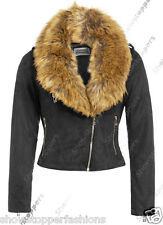 NEW Faux Fur BIKER JACKET Womens Fitted FAUX SUEDE Ladies Size 8 10 12 14 16