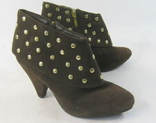 """BROWN 3.5"""" high HEEL POINTY TOE GOLD STUD SEXY ANKLE BOOT Size  9"""