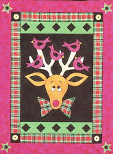 ~ NEW PIECED & APPLIQUE QUILT PATTERN ~ REDBIRDS AND RUDOLPH WALL HANGING ~