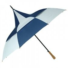 Chequered Blue & White Big Top Vented Wind Resilient Umbrella. Ideal For Golf.