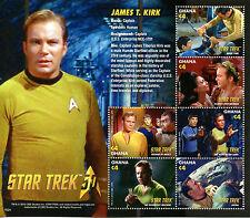 Ghana 2016 MNH Star Trek 50th Anniv Captain James Kirk 6v M/S Stamps