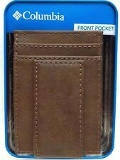 Columbia Sportswear Tan Leather Money Clip Card Case Front Pocket Wallet NEW-BOX